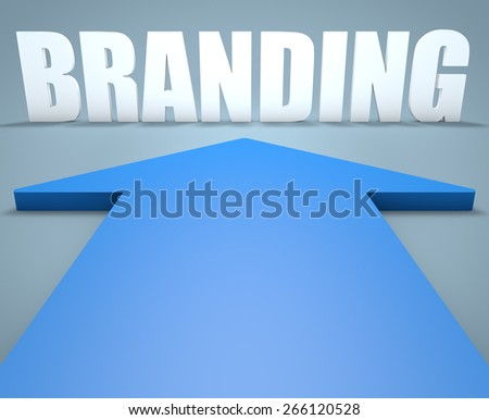 Branding - 3d render concept of blue arrow pointing to text. - stock photo