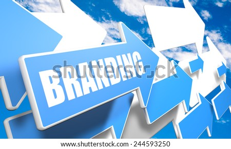 Branding 3d render concept with blue and white arrows flying in a blue sky with clouds - stock photo