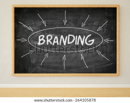 Branding - 3d render illustration of text on black chalkboard in a room. - stock photo