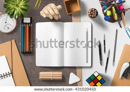 Branding stationery mockup scene, blank objects for placing your design. - stock photo