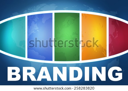 Branding text illustration concept on blue background with colorful world map - stock photo