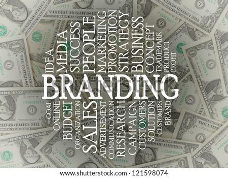 Branding word cloud on top of american dollars - stock photo