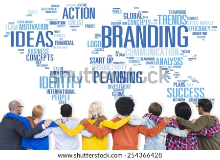 Branding World Global Marketing Identity Individuality Concept - stock photo
