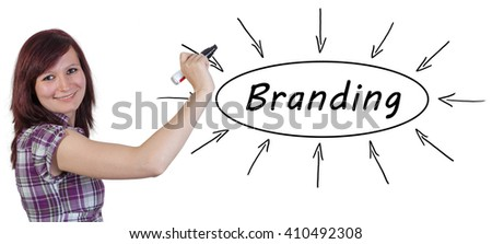 Branding - young businesswoman drawing information concept on whiteboard.  - stock photo