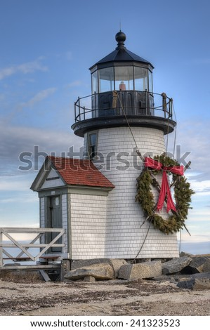 Brandt Point Lighthouse in Nantucket, Massachusetts with Christmas Wreath