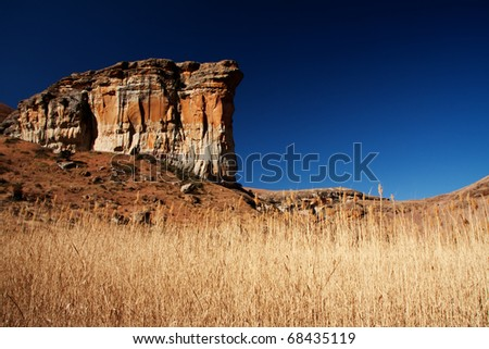 brandwag sandstone massive mountain  landmark in Golden Gate national park in south africa - stock photo