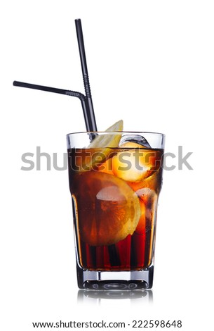 Brandy with cola cocktail. Summer refreshing cocktail with straws