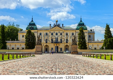 Branicki Palace is a historical edifice in Bialystok, Poland. - stock photo