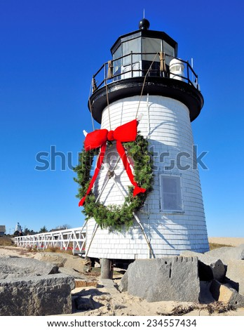 Brant Point Lighthouse in Nantucket / Nantucket Christmas - stock photo