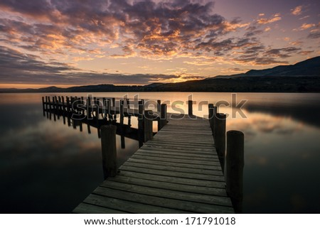 Brantwood jetty, Coniston Water, at sunset - stock photo