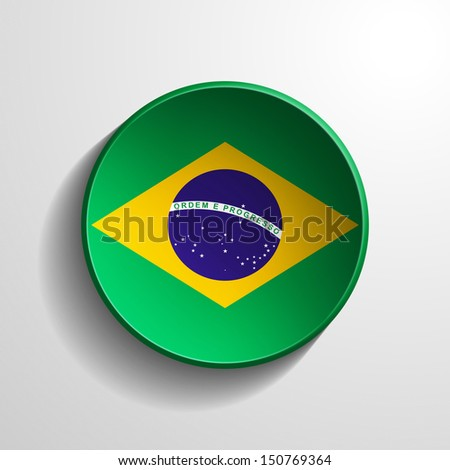Brasil 3d Round Button - stock photo