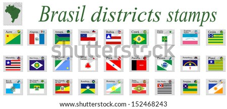 brasil districts stamps and icons complete collection against white background, abstract art illustration