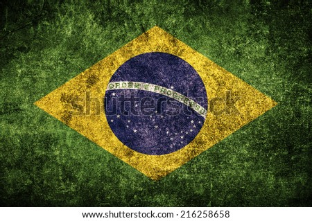 Brasil flag on the grunge concrete wall - stock photo