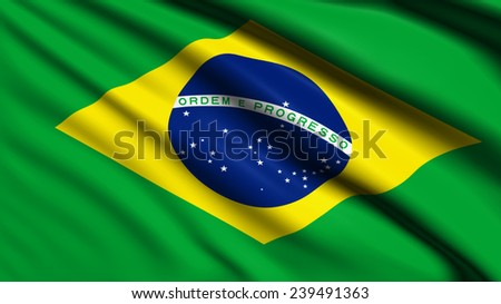 Brasil flag with fabric structure