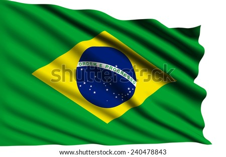 Brasil flag with fabric structure (clipping path)