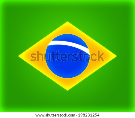 Brasil Simple Flag Backdrop Image - stock photo