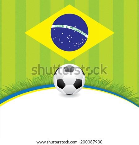 Brasil Soccer green background  - stock photo