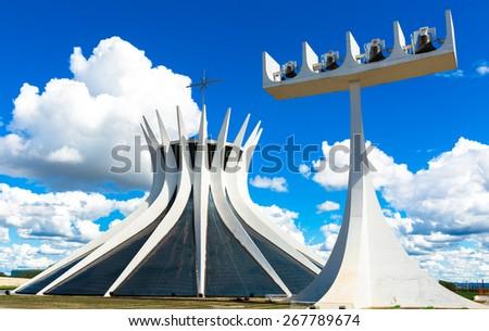 BRASILIA, BRAZIL - CIRCA MARCH 2015: Cathedral of Brasilia, Brazil - stock photo