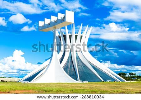 BRASILIA, BRAZIL - CIRCA MARCH 2015: Cathedral of Brasilia, Brazil. - stock photo