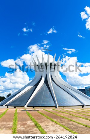 BRASILIA, BRAZIL - CIRCA MARCH 2015: Cathedral of Brasilia, Brazil. It was designed by Oscar Niemeyer, and was completed and dedicated on May 31, 1970. - stock photo