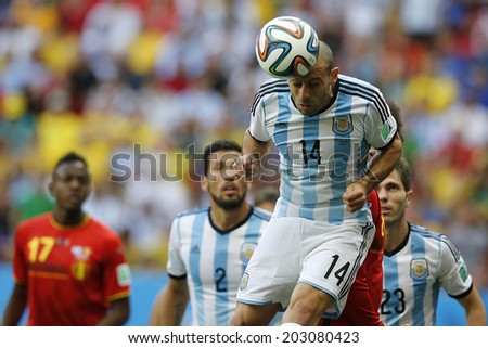 BRASILIA, BRAZIL - JULY 05, 2014: Mascherano of Argentina during the World Cup Quarter-finals game between Argentina and Belgium in the Estadio Nacional. NO USE IN BRAZIL.