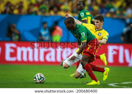BRASILIA, BRAZIL - June 23, 2014: Brazil competes for the ball during the World Cup Group A game between Brazil and Cameroon at Estadio Nacional Mane Garrincha. No Use in Brazil.