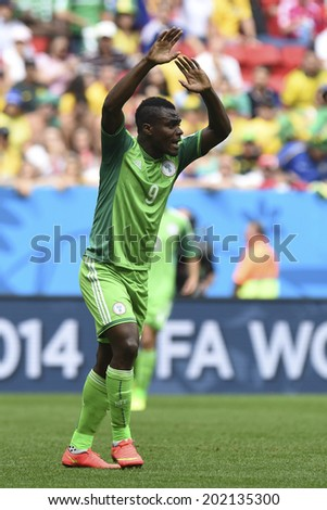 BRASILIA, BRAZIL - June 30, 2014: Emmanuel EMENIKE Nigeria competes for the ball during the World Cup Round of 16 game between France and Nigeria at Mane Garrincha Stadium