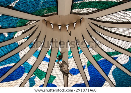 BRASILIA, BRAZIL - JUNE 3, 2015: interior of the Cathedral of Brasilia. It was designed by Oscar Niemeyer, and was completed and dedicated on May 31, 1970. - stock photo