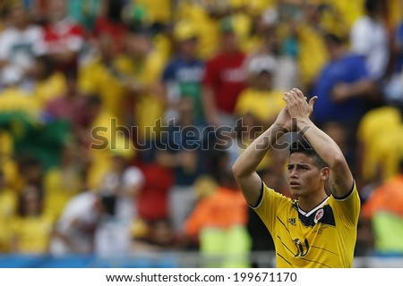 BRASILIA, BRAZIL - June 19, 2014: James Rodriguez of Colombia during the 2014 World Cup Group C game between Colombia and Ivory Coast at Estadio Nacional. No Use in Brazil. - stock photo