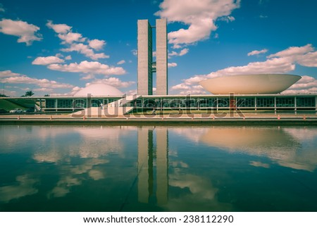 BRASILIA, BRAZIL - JUNE 22, 2014: National Congress at the Three Powers Plaza located at the capital of Brazil. - stock photo