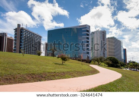 Brasilia, Brazil - June 6, 2015: Northern Hotel Sector of Brasilia. Example of modern urban planning by Oscar Niemeyer and Lucio Costa.