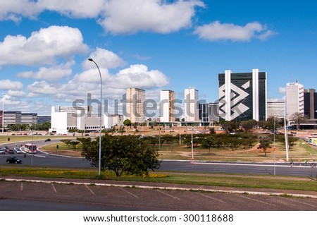 BRASILIA, BRAZIL - JUNE 7, 2015: Skyline of Brasilia. The entire city was planned by architects Lucio Costa and Oscar Niemeyer and is a an example of a modern urban planning. - stock photo