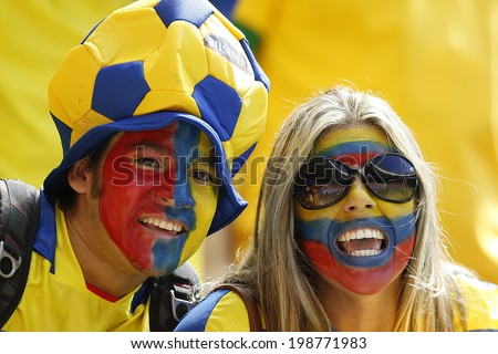 BRASILIA, BRAZIL - June 15, 2014: Soccer fans celebrating at the 2014 World Cup Group E game between Switzerland and Ecuador at Estadio Nacional Mane Garrincha. No Use in Brazil.