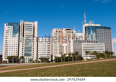 BRASILIA, BRAZIL - JUNE 6, 2015: Southern Hotel Sector of Brasilia. Example of modern urban planning by Oscar Niemeyer and Lucio Costa. - stock photo