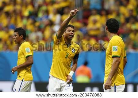 BRASILIA, BRAZIL - June 23, 2014: Thiago Silva of Brazil during the 2014 World Cup Group A game between Brazil and Cameroon at Estadio Nacional Mane Garrincha. No Use in Brazil.