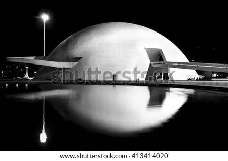 BRASILIA, BRAZIL  -25 MAY , 2014 ; The National Museum of the Republic, designed by Oscar Niemeyer - stock photo