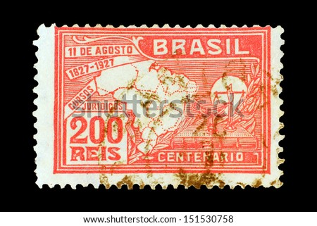 BRASILIA, CIRCA 1930 - The post stamp with country map printed in memory of independence circa 1930 in Brasilia