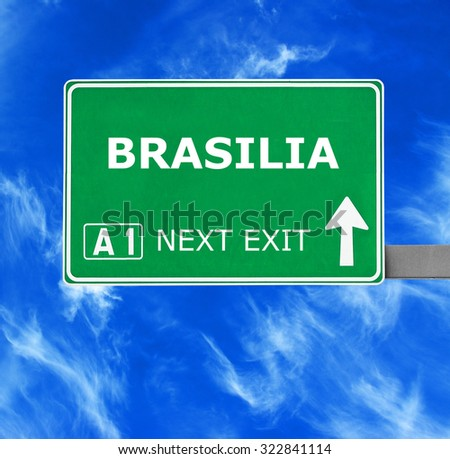 BRASILIA road sign against clear blue sky
