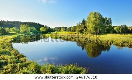 Brasla river in Gauja national park, Latvia - stock photo