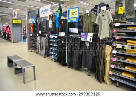brasov, romania - march 4th, 2015: the outdoor apparel department at the decathlon sports equipment store in brasov, romania. shot taken on march 4th, 2015 - stock photo