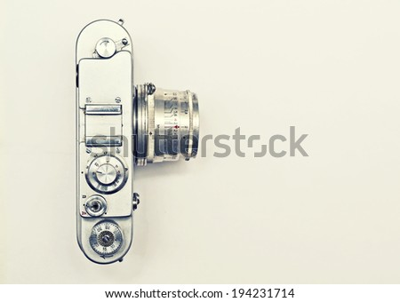 BRASOV, ROMANIA - MAY 22, 2014: Zorki 4 is the most popular of all Zorki cameras, introduced in 1956 by KMZ factory in Russia. - stock photo