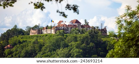 "Brasov, Romania - November 7, 2012: Old fortress ""Cetatuia"" on a sunny summer day, Brasov, Romania - stock photo"
