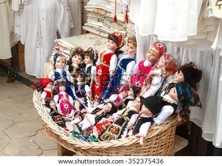 brasov romania 17082012 traditional porcelain dolls stock photo