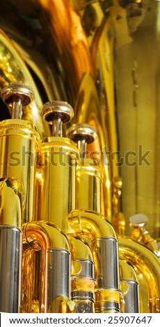 brass and chrome detail of euphonium brass instrument