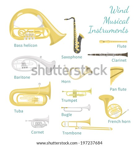 Brass and woodwind instruments. Flat style illustration. Various classical orchestral musical wind instruments, concert stage brass section, traditional national musical instruments. - stock photo
