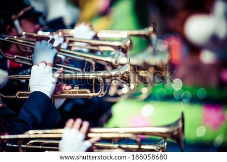 Brass band parade - stock photo