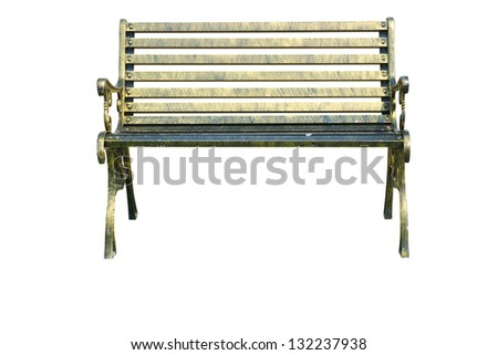 Brass bench isolated. - stock photo