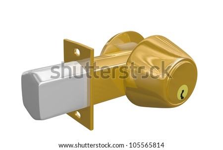 brass deadbolt with extended cylinder isolated on white