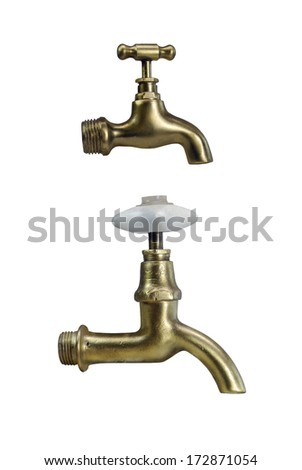 brass faucet on white background  - stock photo