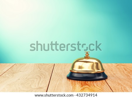 Brass hotel reception bell on wood desk. 3D illustration - stock photo